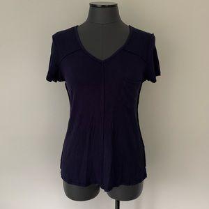 EYESHADOW Soft Stretch Ribbed Knit Hi Lo S/S Top
